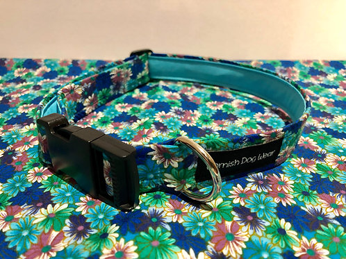 Turquoise Crazy Daisy Dog Collar
