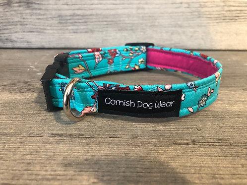 Flower Vines On Turquoise Dog Collar