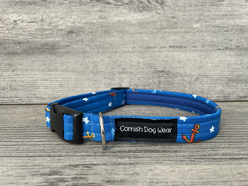 Anchors and Stars on Blue dog collar