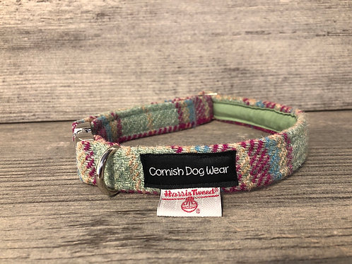Harris Tweed Raspberry and Sage Check Dog Collar