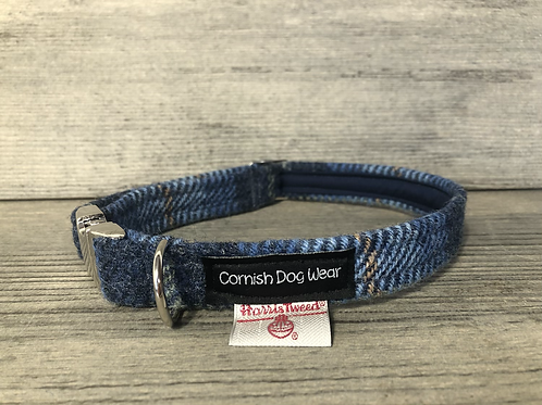 Harris Tweed Classic Blue Check Dog Collar