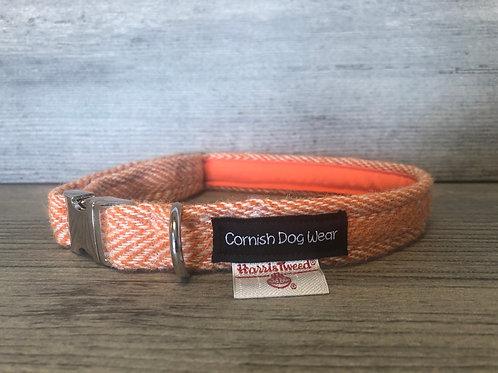 Harris Tweed Orange Herringbone Dog Collar