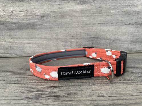 Sheep on Coral dog collar