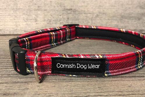 Red Tartan Fabric Dog Collar