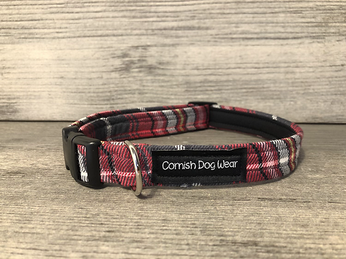 Raspberry, Grey and yellow Tartan Dog Collar
