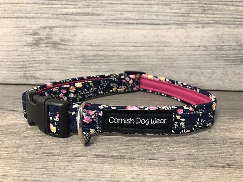Navy Floral Dog Collar