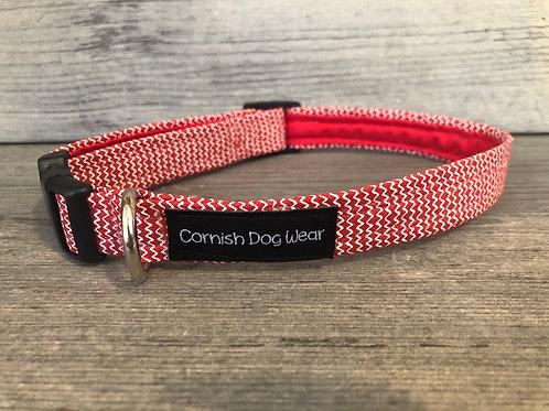 Red Zig Zag Dog Collar