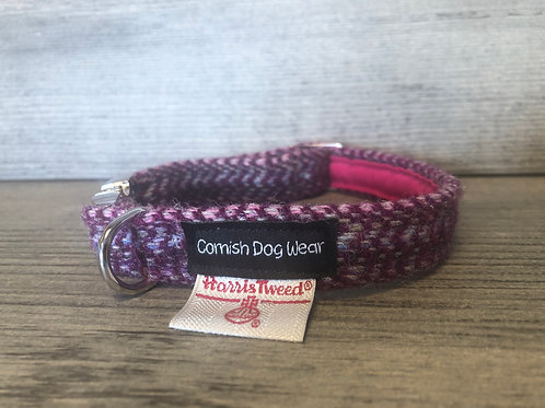 Harris Tweed Dark Pink Confetti Dog Collar