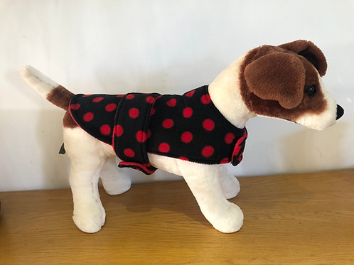 Black and Red Spot Fleece Dog Coat
