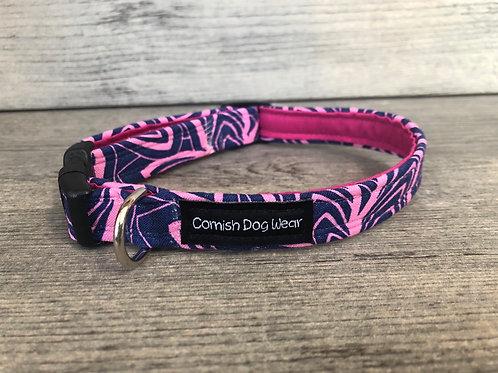 Blue and Hot pink Swirls Dog Collar
