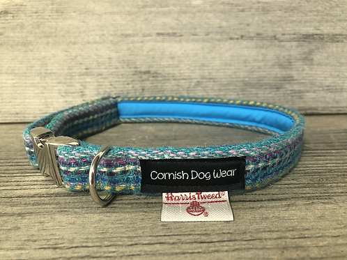 Harris Tweed Multi Coloured Turquoise Dog Collar