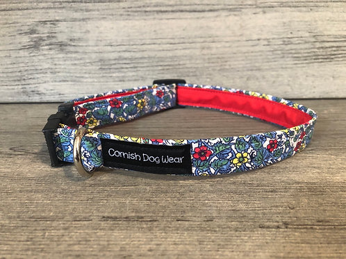 Blue Ditsy Flower Dog Collar