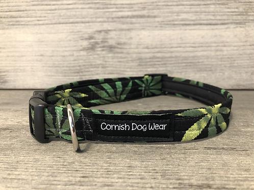 Hemp Leaves Marijuana Dog Collar
