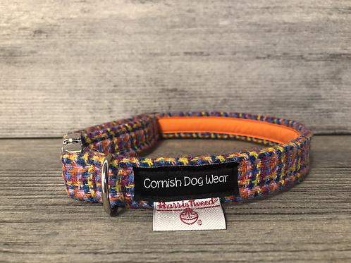 Harris Tweed Orange Multi Stitch Dog Collar