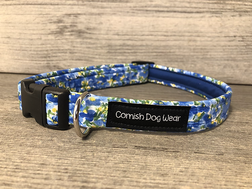 Clouds Of Blue Flowers Dog Collar