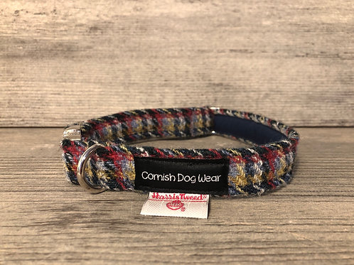 Charcoal Check Harris Tweed Dog Collar