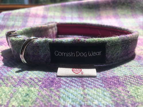 Harris Tweed Baby Pink, Baby Blue and Green Check Dog Collar
