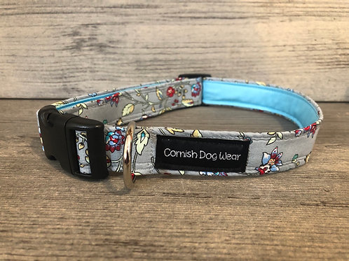 Flower Vines on Grey Dog Collar