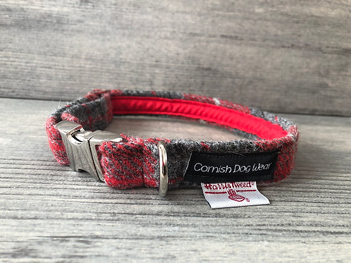 Harris Tweed Red and Grey Check Dog Collar