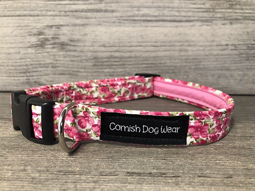 Clouds Of Pink Flowers Dog Collar