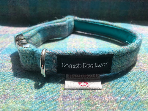 Harris Tweed The clear Blue Sea Dog Collar