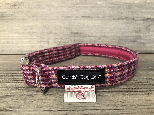 Harris Tweed Bright Pink Multi Stitch Dog Collar