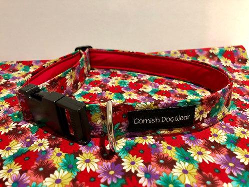 Red Crazy Daisy Dog Collar