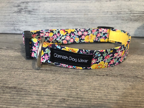 Liberty Navy And Yellow Flowers Dog Collar