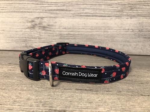 Mini Strawberry's on Navy Dog Collar