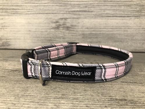 Baby Pink and Grey Tartan Dog Collar