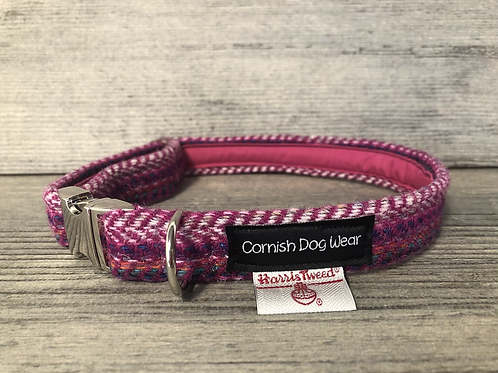 Harris Tweed Multi Coloured Hot Pink Dog Collar