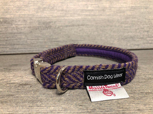 Harris Tweed Purple Herringbone Dog Collar