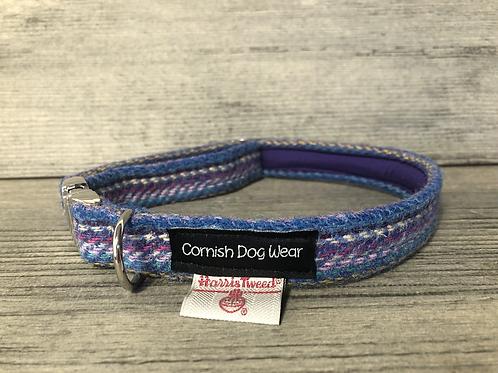 Harris Tweed Multi Coloured Purple Dog Collar
