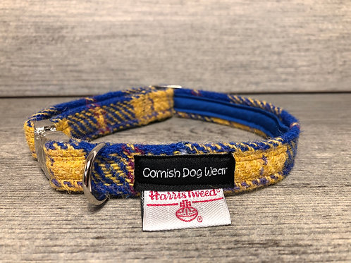 Harris Tweed Yellow and Royal Blue Check dog collar