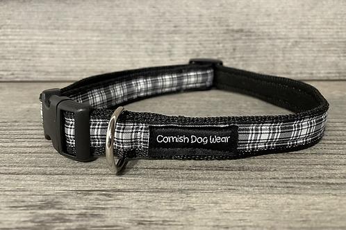 Black and White Tartan Dog Collar