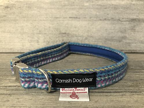 Harris Tweed Multi Coloured Teal Dog Collar