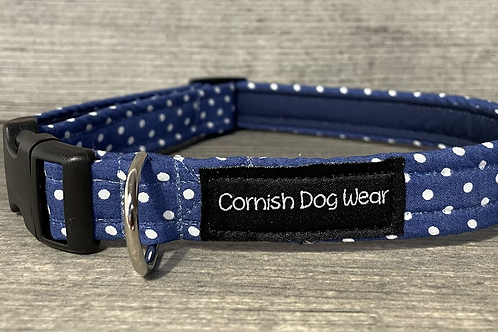 Blue and White Spot dog collar