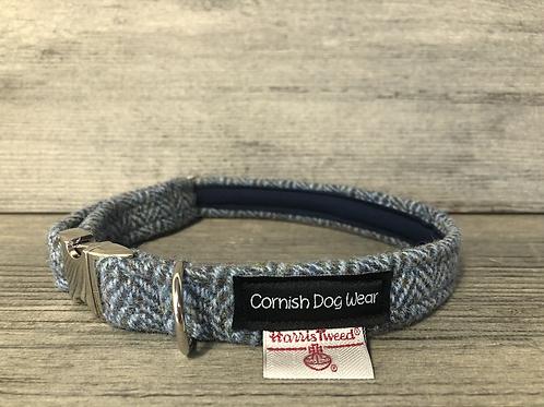 Harris Tweed Vintage Blue Herringbone Dog Collar