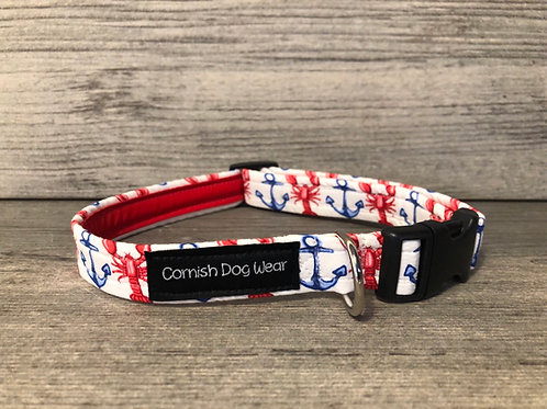 Nautical Lobsters and Anchors Dog Collar