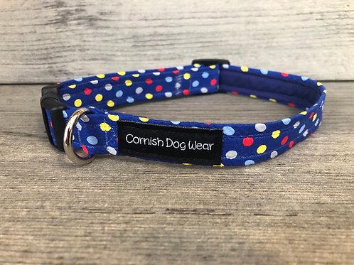 Blue Multi Spot Dog Collar