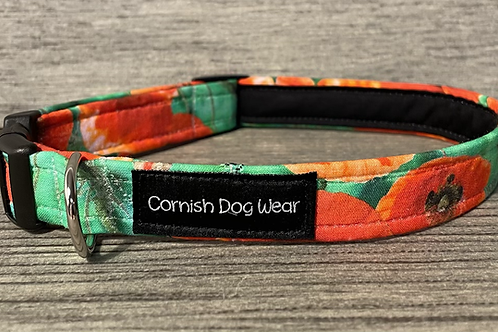 Large Poppies dog collar