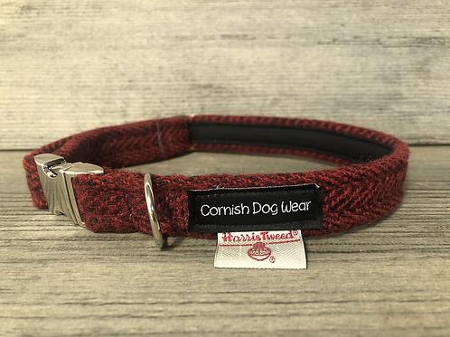 Harris Tweed Black and Red Herringbone Dog Collar