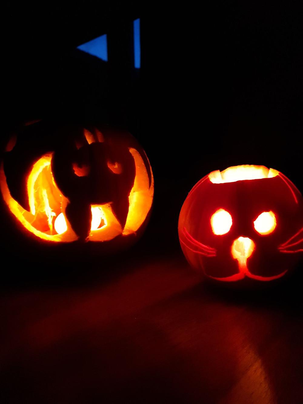 Pumpkin carving bat and cat, Halloween 2020