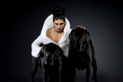 Artistic girl with dogs portrait
