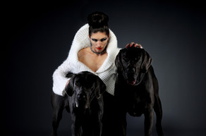 Artistic girl with dogs portrait Dream Line Photography