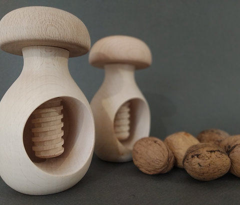 Organic beechwood mushroom nutcracker montessori toy wooden mushroom screw wood