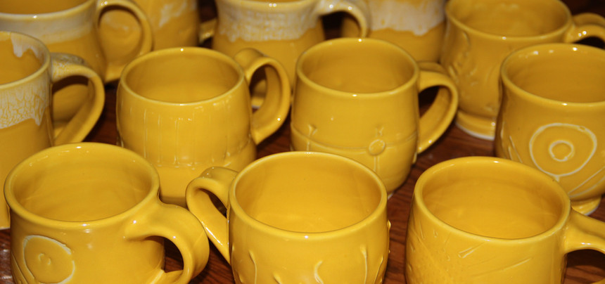 Happy Yellow Mugs for a Quilting Retreat