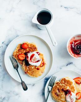 Whole Wheat & Flax Strawberry Pancakes