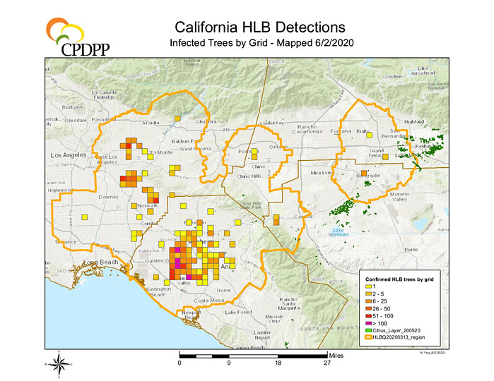 CA HLB detections by grid