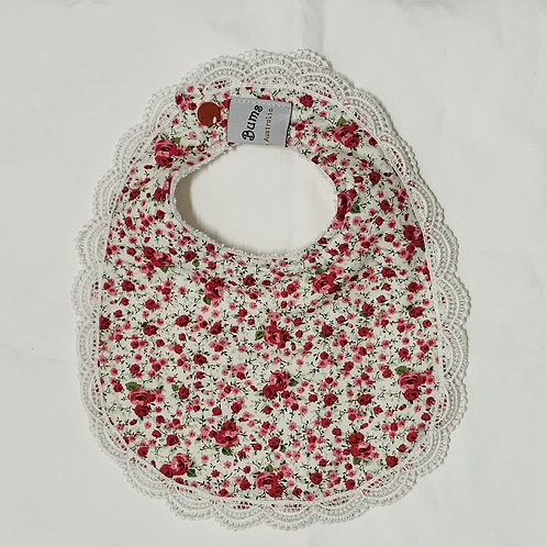 Large pink floral with lace trim Bib